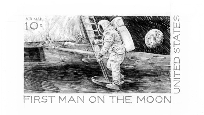 In 1969 Paul Calle Was Commissioned To Design The US Postage Stamp Commemorating Mans First Step On Lunar Surface